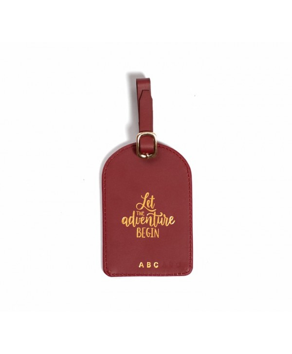 Let The Adventure Begin Luggage Tag- Burgundy- Personalized