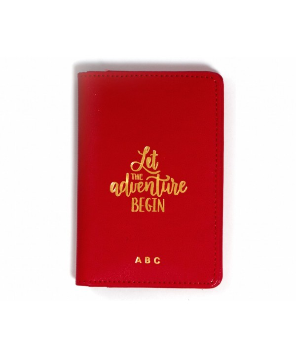 Let The Adventure Begin Passport Cover- Red- Personalized