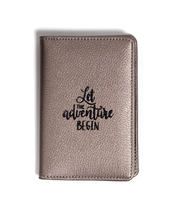 Let The Adventure Begin Passport Cover- Silver Metallic