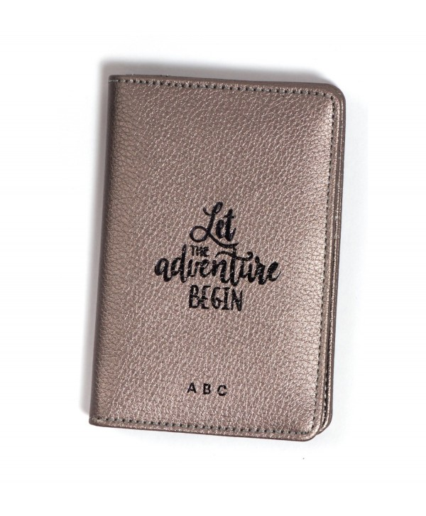 Let The Adventure Begin Passport Cover- Silver Metallic- Personalized