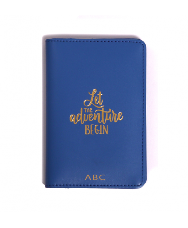 Let The Adventure Begin Passport Cover- Blue- Personalized