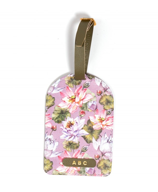 Purple Lotus Design Luggage Tag- Personalized