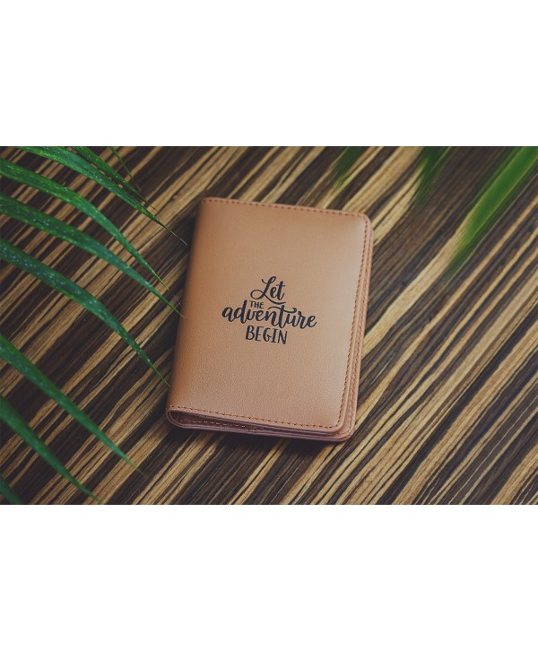 Let The Adventure Begin Passport Cover- Tan- Personalized