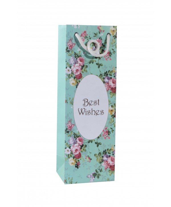 Sea Green Floral Wine Bags