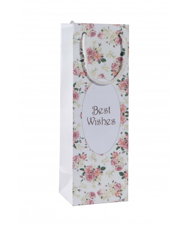 White Floral Wine Bags