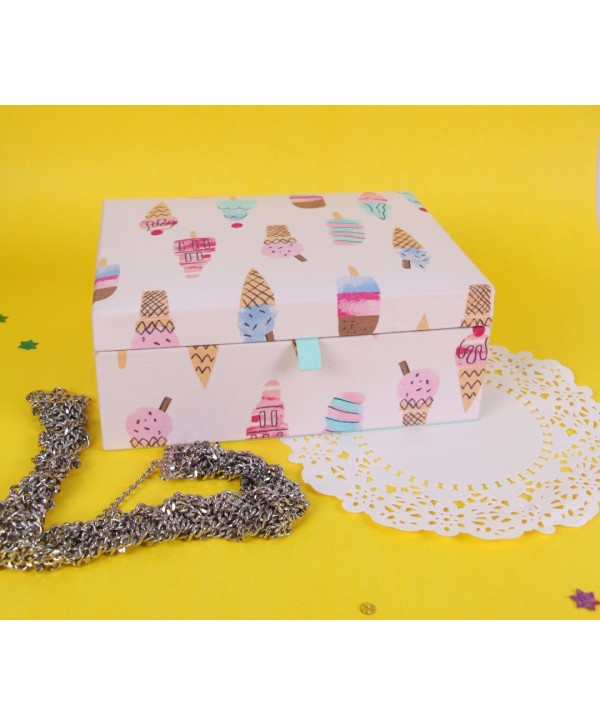 ICE CREAM PRINT FABRIC COVERED JEWELRY BOX