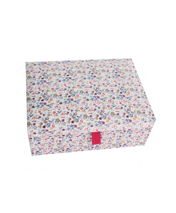 FLORAL PRINT FABRIC COVERED JEWELRY BOX