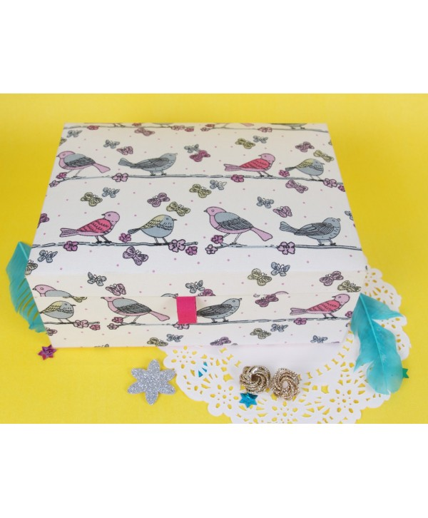 BIRDS PRINT FABRIC COVERED JEWELRY BOX