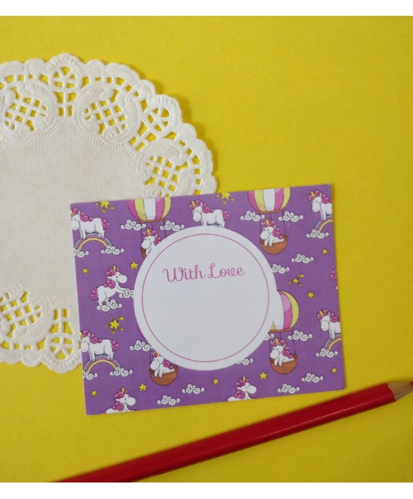 CLOUDS AND UNICORN DESIGN FLAT CARDS