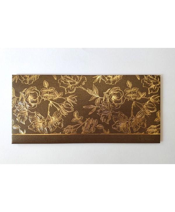 FLORAL DESIGN GOLD FOILED MONEY/SHAGUN ENVELOPES- BROWN