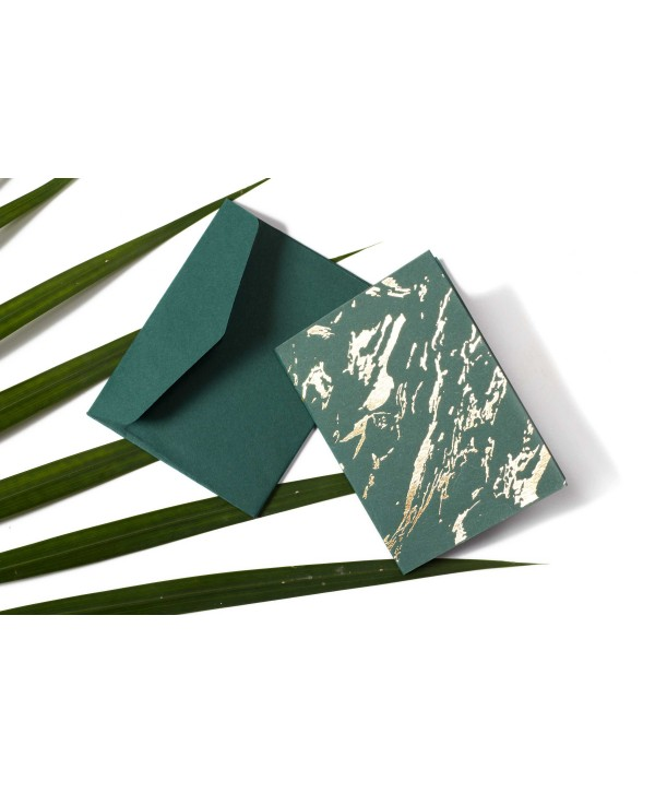MARBLE DESIGN GOLD FOILED GIFT TAGS FOLDED- DARK GREEN-PACK OF 10