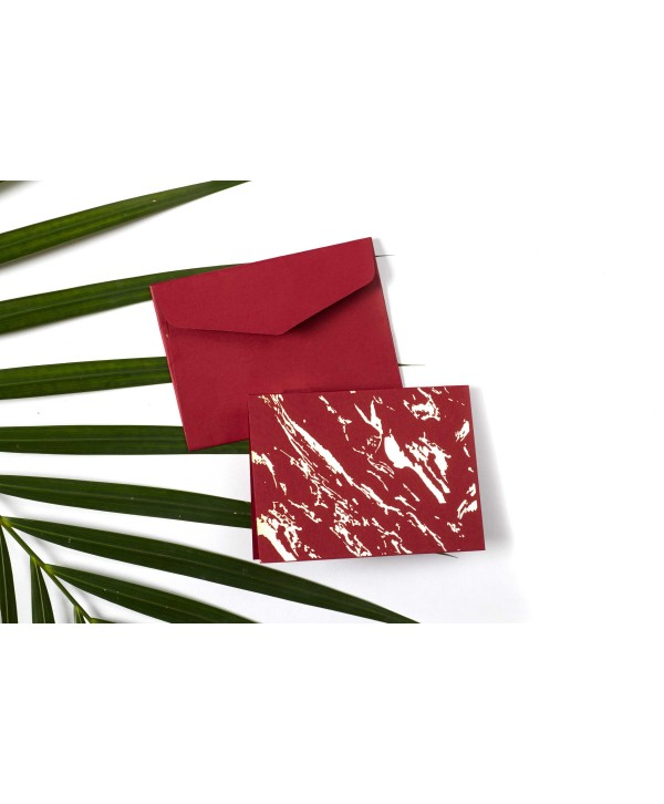 MARBLE DESIGN GOLD FOILED GIFT TAGS FOLDED- MAROON-PACK OF 10