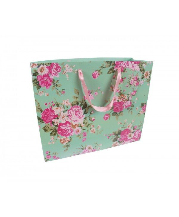 MINT GREEN FLORAL DESIGN GIFT BAGS