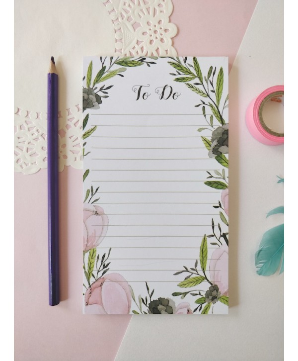 PINK AND WHITE FLORAL TO DO LIST