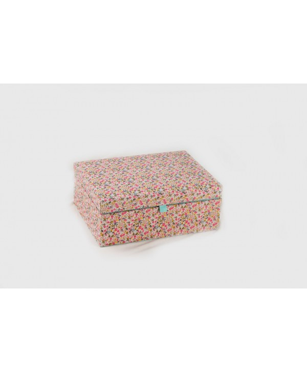 PINK FLORAL PRINT JEWELRY BOX