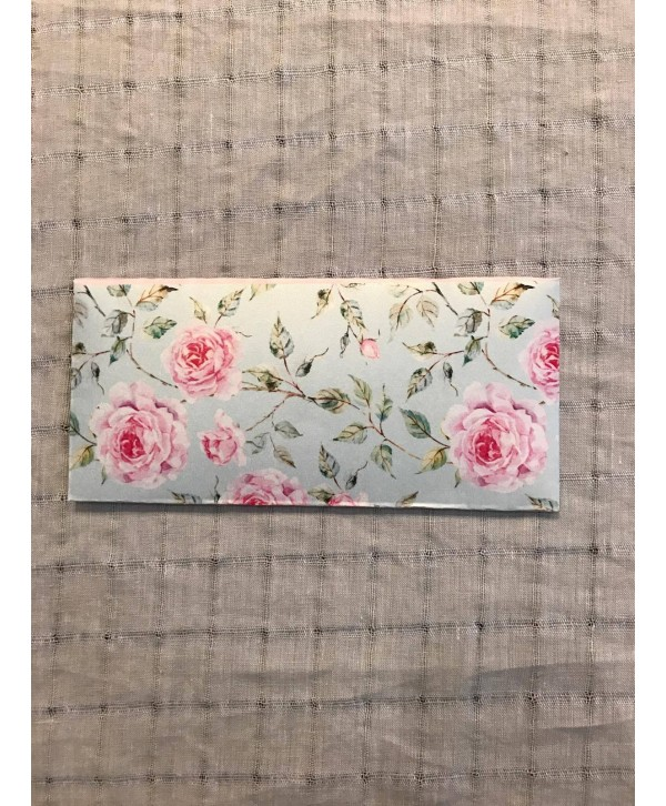 POWDER BLUE FLORAL DESIGN MONEY ENVELOPES WITH PINK FLAP