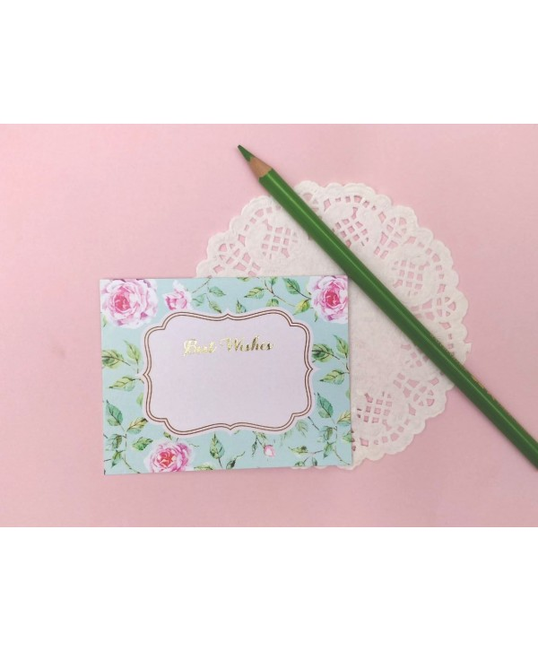 POWDER BUE FLORAL DESIGN FLAT CARDS- PACK OF 10 CARDS