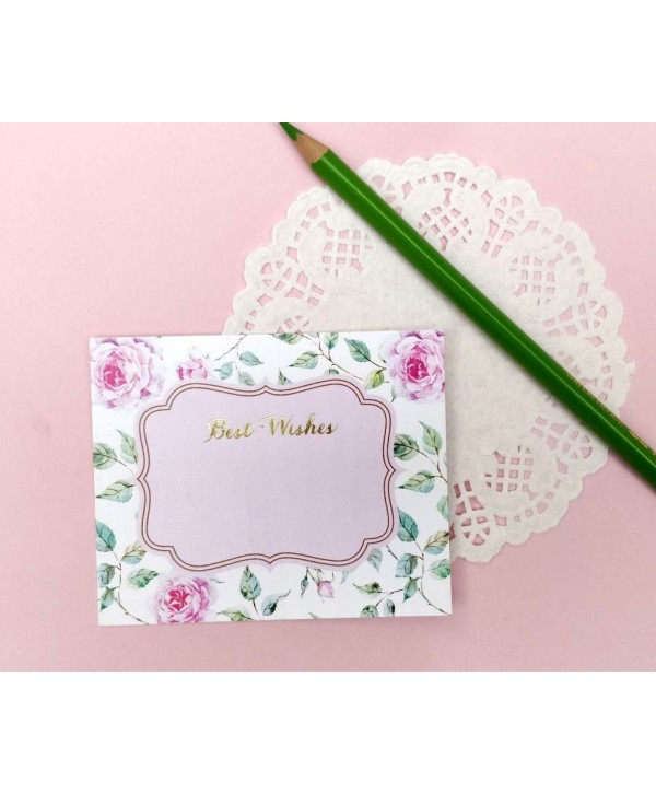 POWDER WHITE FLORAL DESIGN FLAT CARDS-PACK OF 10 CARDS