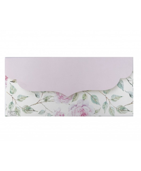 POWDER WHITE FLORAL DESIGN MONEY/SHAGUN ENVELOPES WITH PINK FLAP
