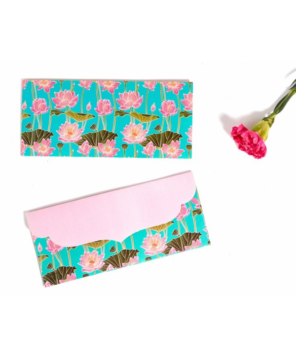 LOTUS DESIGN MONEY/SHAGUN ENVELOPES(PINK FLAP)