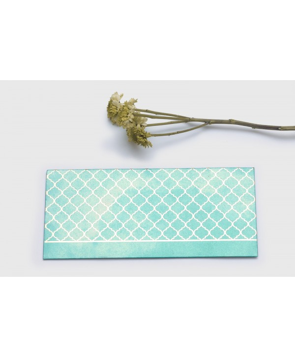 WATERCOLOR MOROCCAN DESIGN GOLD FOILED MONEY/SHAGUN ENVELOPES- GREEN