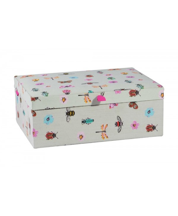 BEE PRINT FABRIC JEWELRY BOX