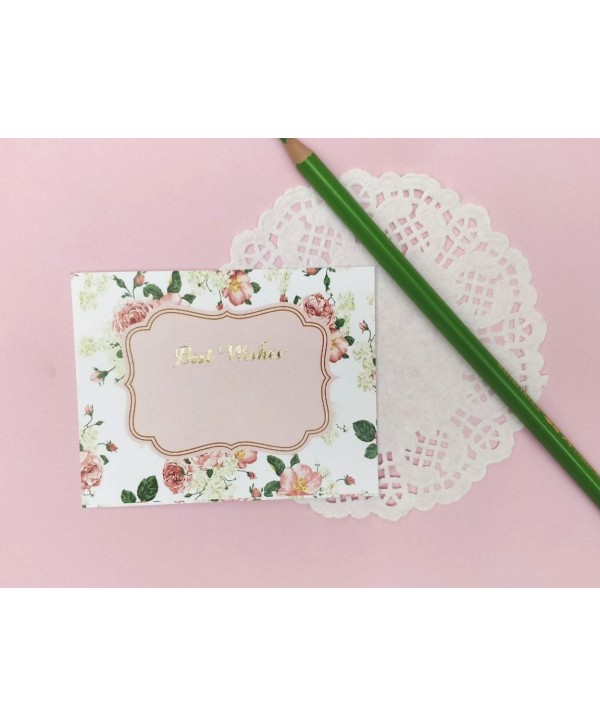 WHITE FLORAL DESIGN FLAT CARDS- PACK OF 10 CARDS