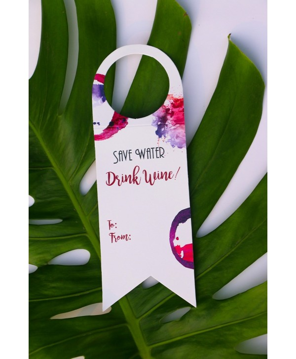 SAVE WATER DRINK WINE TAGS- SET OF 6