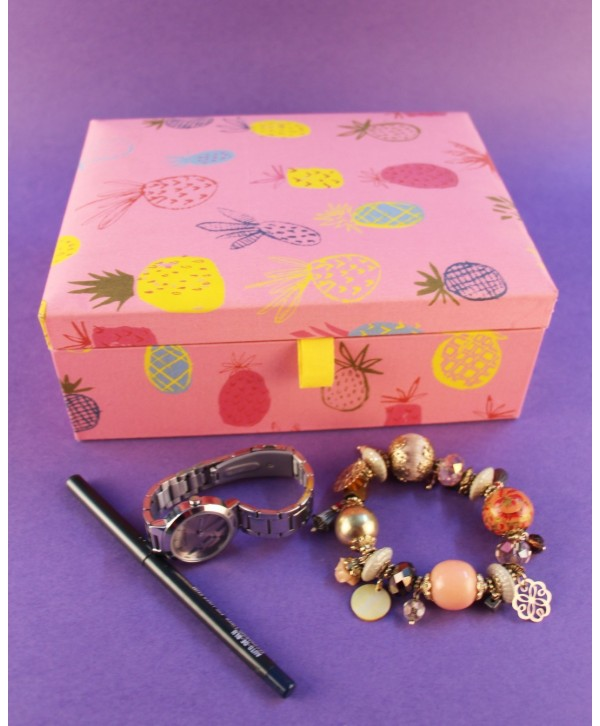 PINEAPPLE DESIGN FABRIC JEWELRY BOX