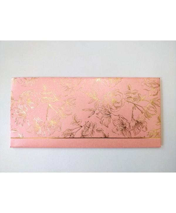 FLORAL DESIGN GOLD FOILED MONEY/SHAGUN ENVELOPES- LIGHT PINK