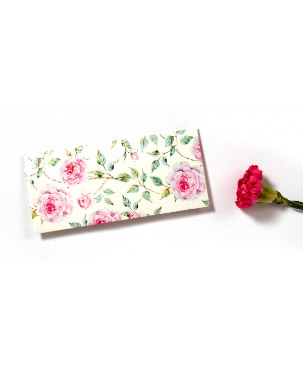 POWDER WHITE FLORAL DESIGN MONEY/SHAGUN ENVELOPES