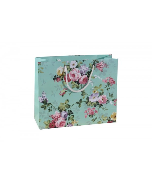 SEA GREEN FLORAL GIFT BAGS-SET OF 2 BAGS