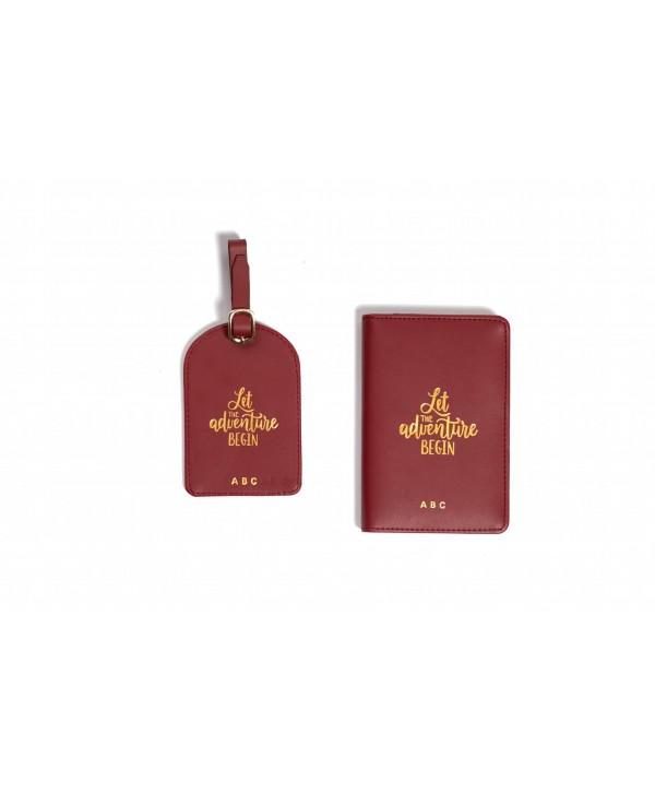 Let The Adventure Begin Travel Set- Burgundy- Personalized