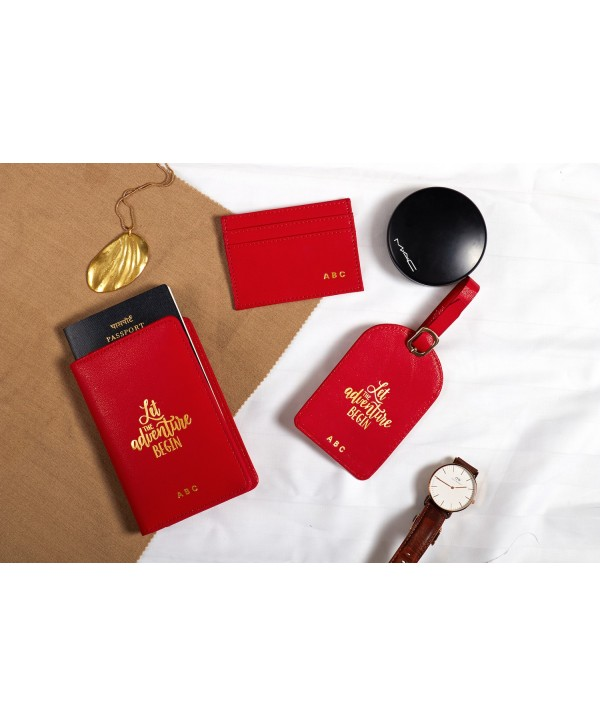 Travel Gift Set With Quote- Red- Personalized
