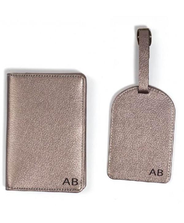 Travel Set(Plain)- Metallic Silver- Personalized