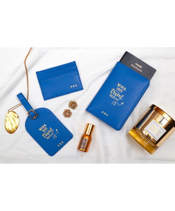 Travel Gift Set With Quote- Blue- Personalized