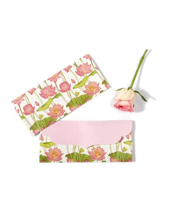 White Lotus Design Money/Shagun Envelopes-Pack Of 10